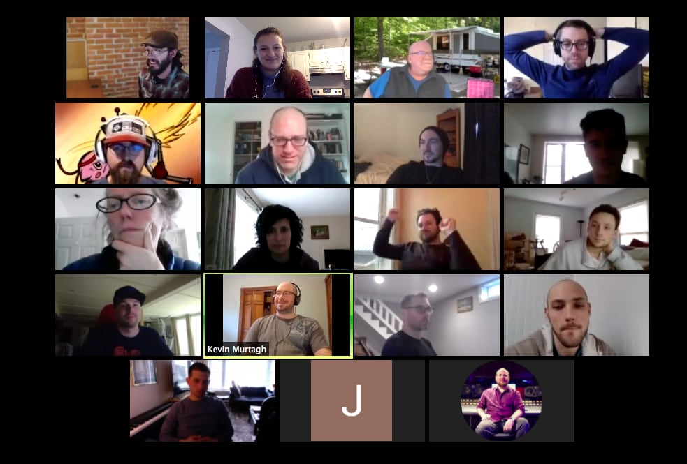 cohort-3 on a zoom call during remote class prepping for demo day