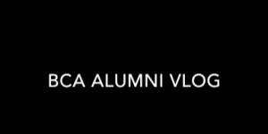 Alumni Vlog in white letters on a black background