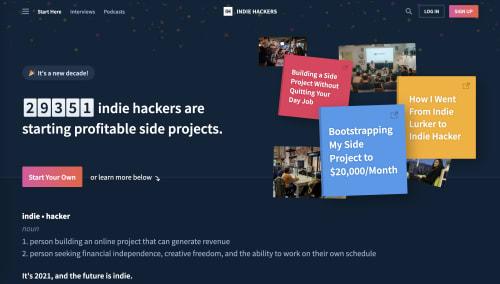 Indie Hackers  screenshot
