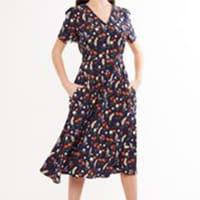 Louche Avril Flower Mix Navy Dress