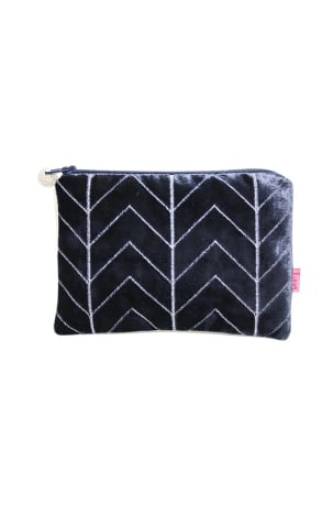 Blue Velvet Chevron Coin Purse