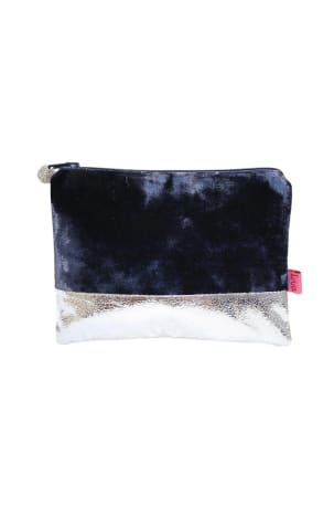 Blue Velvet Metallic Coin Purse