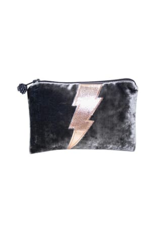 Grey Velvet Lightning Bolt Purse