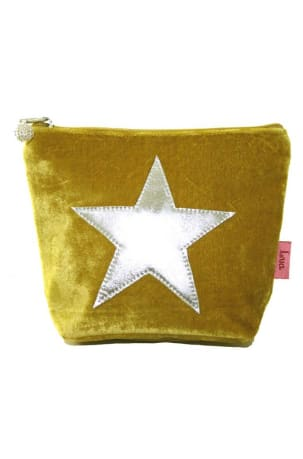 Mustard Velvet Star Wash Bag