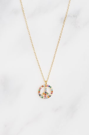 Rainbow Peace Symbol Necklace