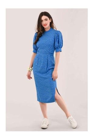 Blue Puff Sleeve Midi Dress