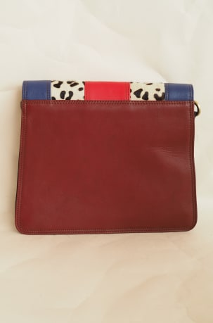 Navy and Red Animal Print Satchel