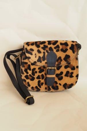 Leopard and Navy Animal Print Satchel