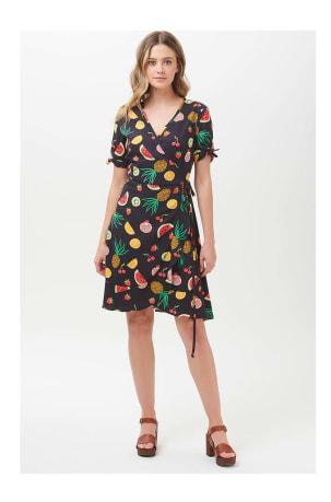 Jessica Fruit Punch Frill Wrap Dress