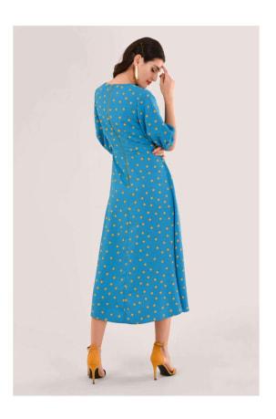 Blue Polka Dot Puff Sleeve Midi Dress