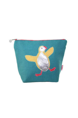 Teal Puffin Applique Cosmetic Purse