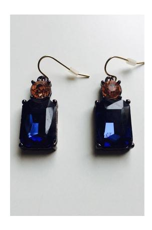 Last True Angel Navy Amber Crystal Gem Earrings