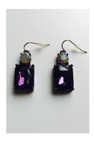 Last True Angel Deep Purple Crystal Gem Earrings