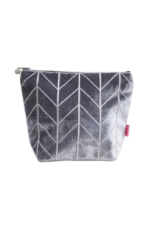 Grey Velvet Chevron Wash Bag