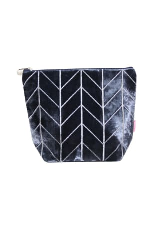 Blue Velvet Chevron Wash Bag