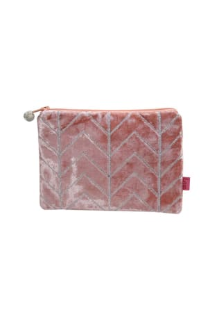Peach Velvet Chevron Coin Purse
