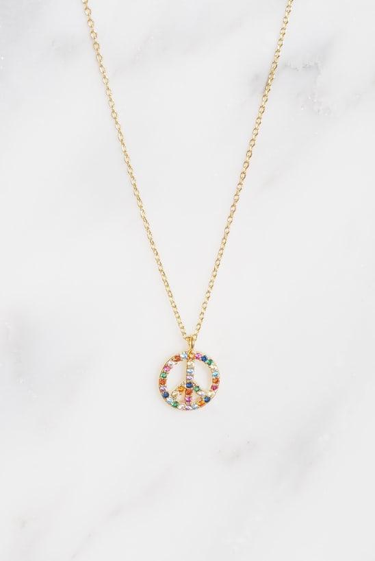 Rainbow Peace Symbol Necklace