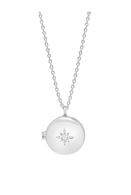 Round CZ Locket Silver Plated Necklace