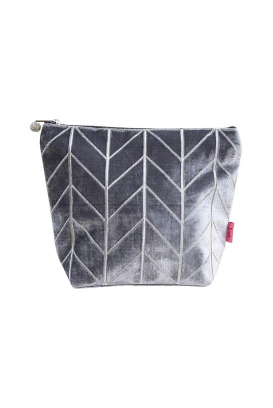 Grey Velvet Chevron Wash Bag