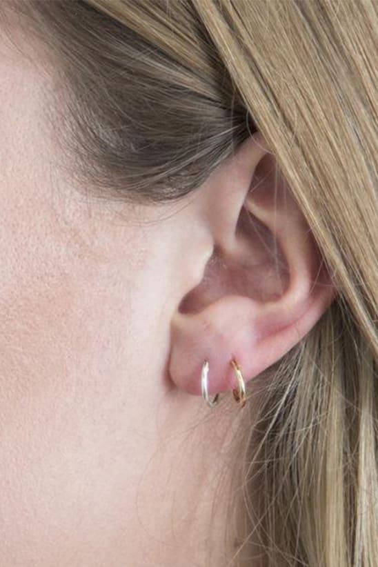 Orelia Silver Micro Hoop Earrings