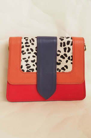 Orange, Navy and Red Animal Print Satchel