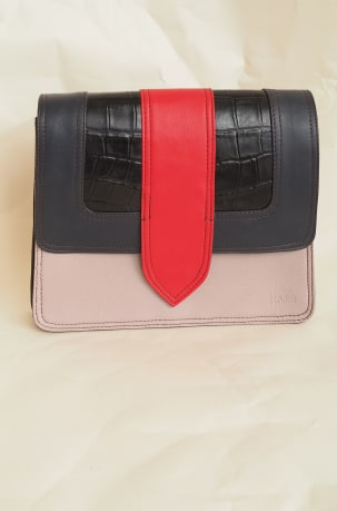 Pink, Red, Black and Navy Satchel