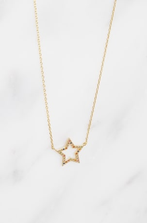 Rainbow CZ Open Star Necklace