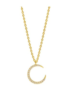 White Moon CZ Gold Plated Necklace