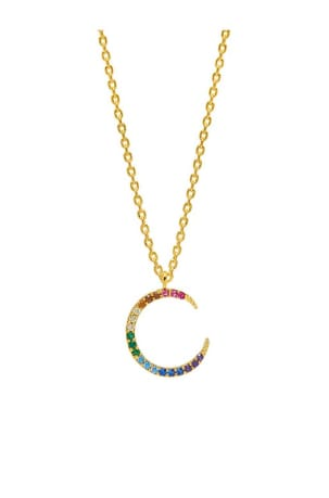 Rainbow Moon CZ Gold Plated Necklace