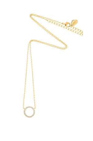 Large Pave CZ Circle Gold Plated Necklace