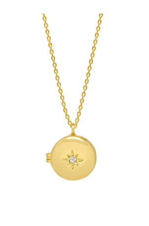 Round CZ Locket Gold Plated Necklace