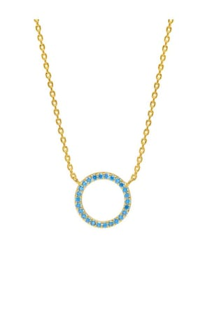 Blue CZ Circle Gold Plated Necklace