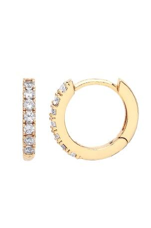 Estella Bartlett Gold Pave Set Hoop Earrings