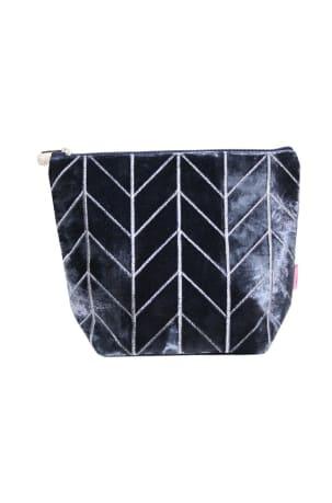 Blue Velvet Chevron Wash Bag