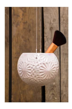 Lund Home Pink Pearlised Hanging Pot