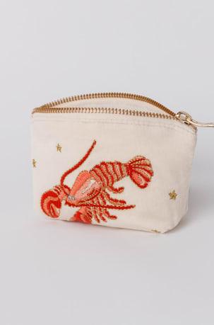 Elizabeth Scarlett Lobster Pearl Velvet Coin Purse