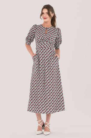 Closet London Multi Print Short Puff Sleeve Midi Dress