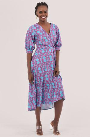 Closet London Blue Puff Sleeve Wrap Print Dress