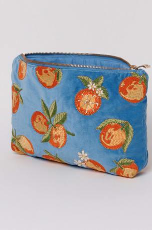 elizabeth scarlett blue oranges pouch