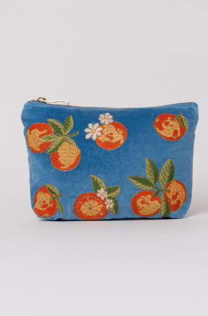 elizabeth scarlett blue oranges makeup bag