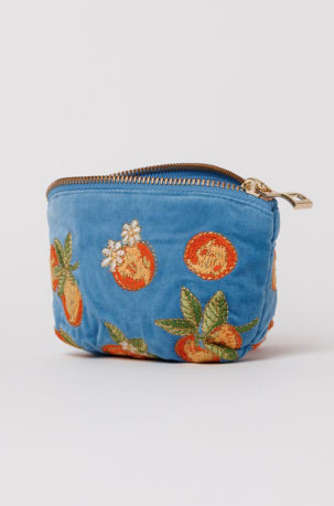 elizabeth scarlett blue oranges coin purse