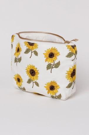 elizabeth scarlett white sunflower makeup bag