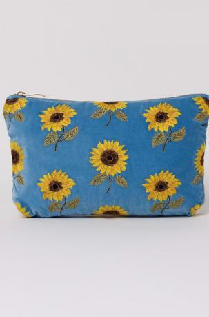 elizabeth scarlett blue sunflower makeup bag