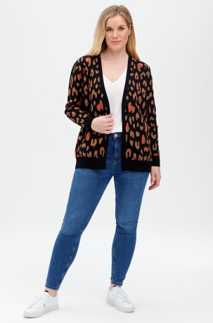 Sugarhill Leanne Cardigan in Colour Pop Leopard