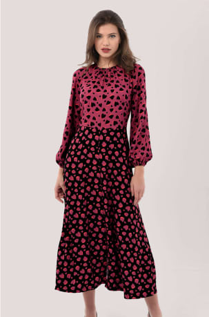 Closet London Red Print A-Line Puff Sleeve Midi Dress