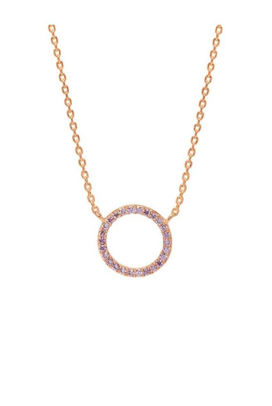 Lavender CZ Circle Rose Gold Plated Necklace