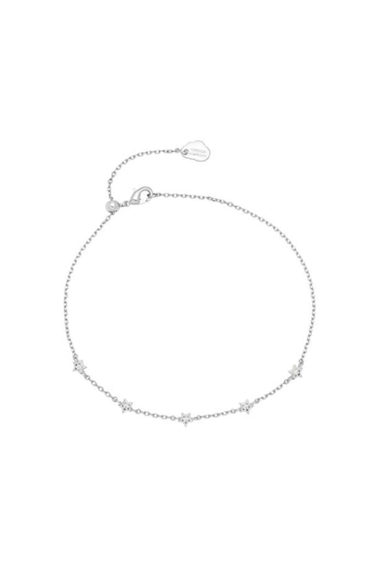Mini Star CZ Silver Plated Chain Bracelet