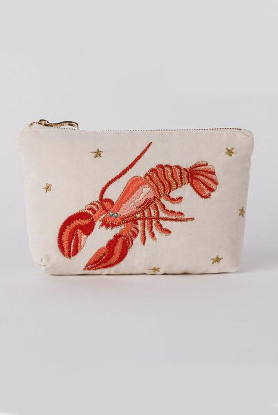 Elizabeth Scarlett Lobster Pearl Velvet Makeup Bag