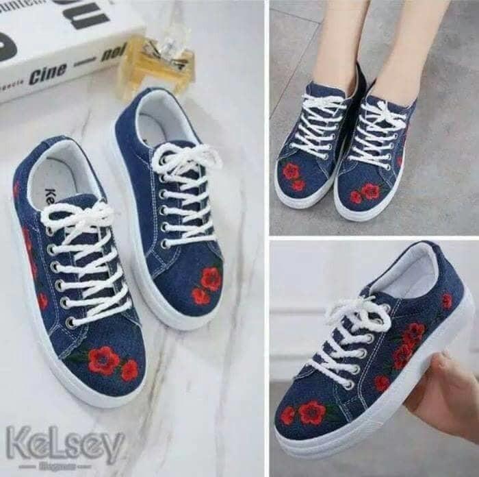 jual Sepatu Kets Wanita Sneakers Bunga Bordis Jeans SDS215