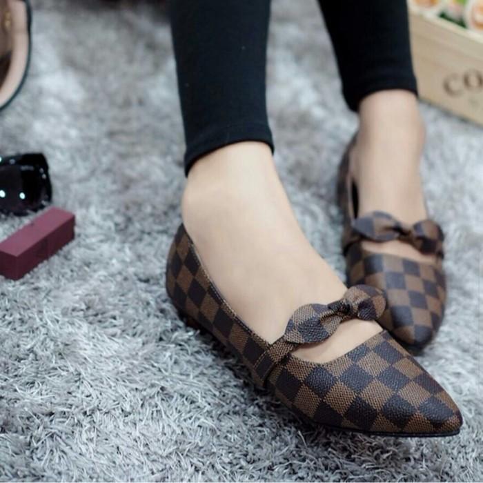 jual Sepatu Flat Shoes Wanita Pita SDB101 Coklat